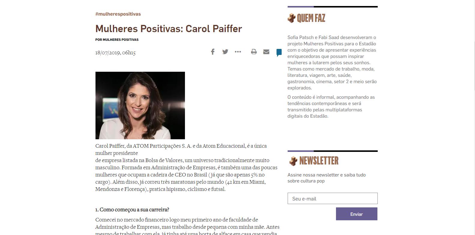 Mulheres Positivas: Carol Paiffer