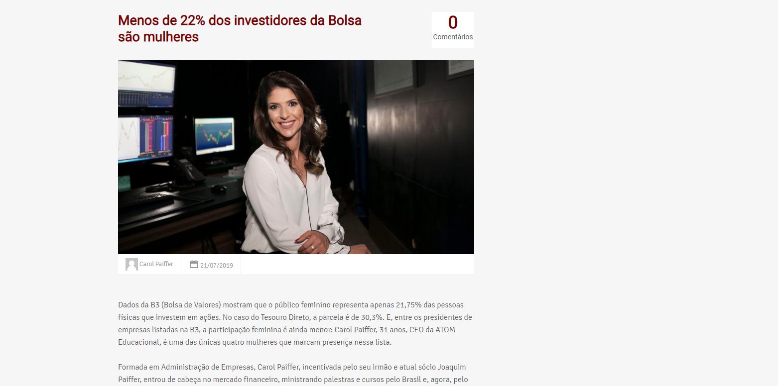 Menos de 22% dos investidores da Bolsa são mulheres