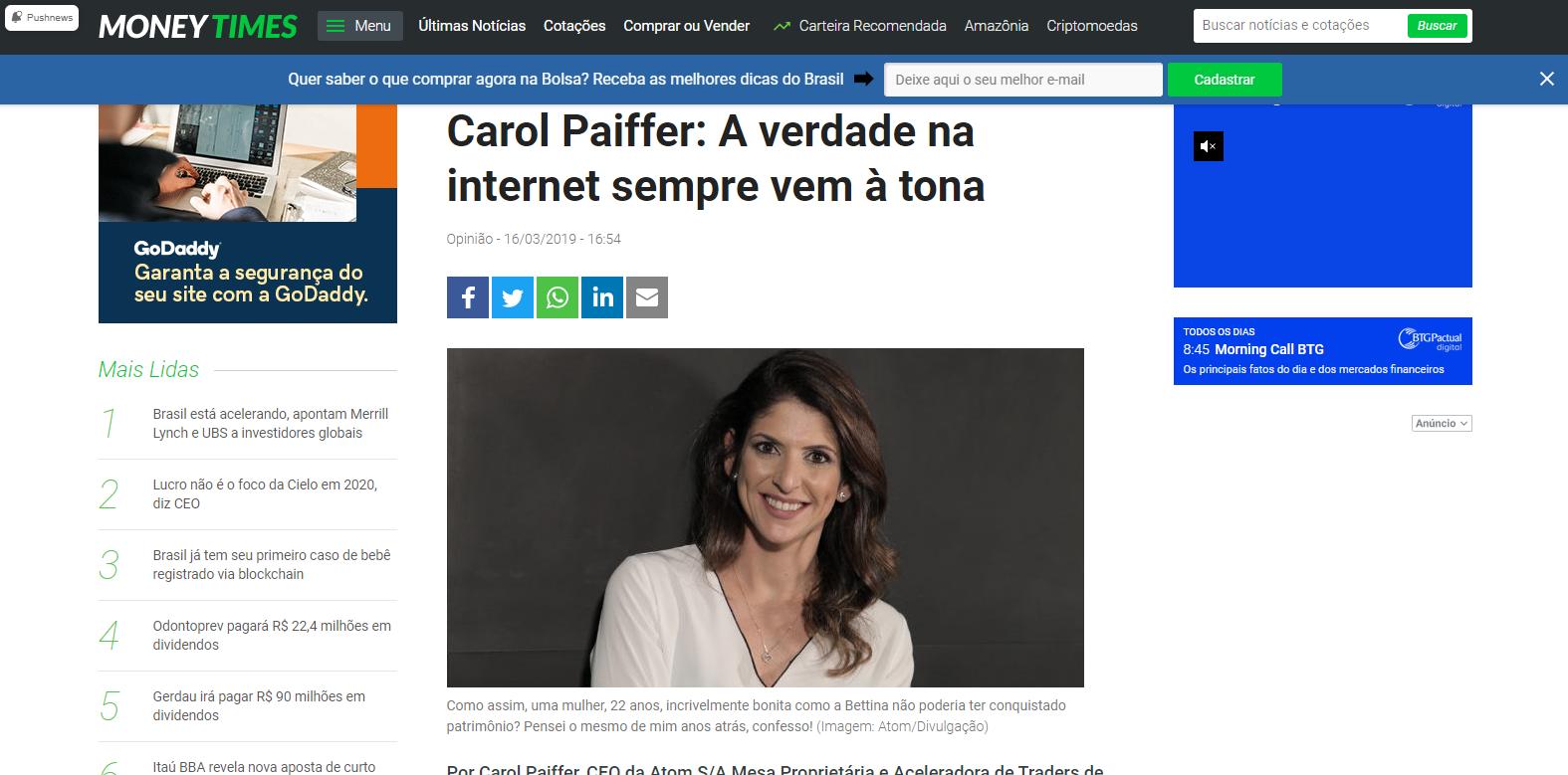 Carol Paiffer: A verdade na internet sempre vem à tona